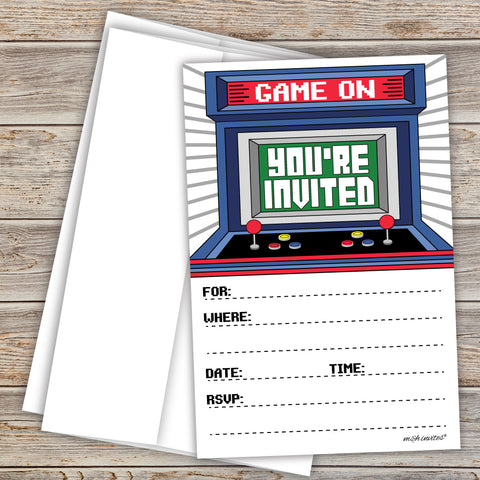 Arcade Party Invitations