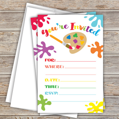 Art Painting Birthday Invitations