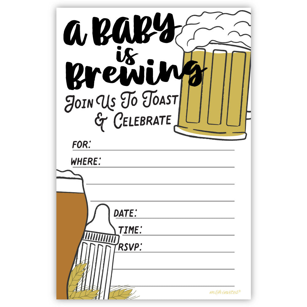 Baby Is Brewing Baby Shower Invitations