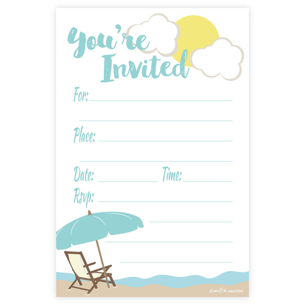 Beach Fill In Invitations - Madison and Hill