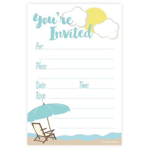 Beach Theme Fill In Invitations - Any Occassion
