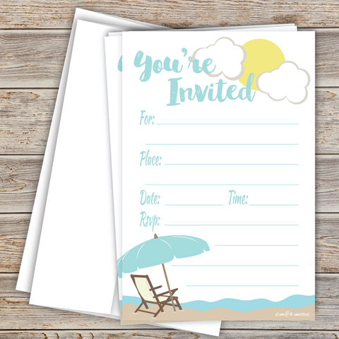 Beach Theme Fill In Invitations - Any Occasion