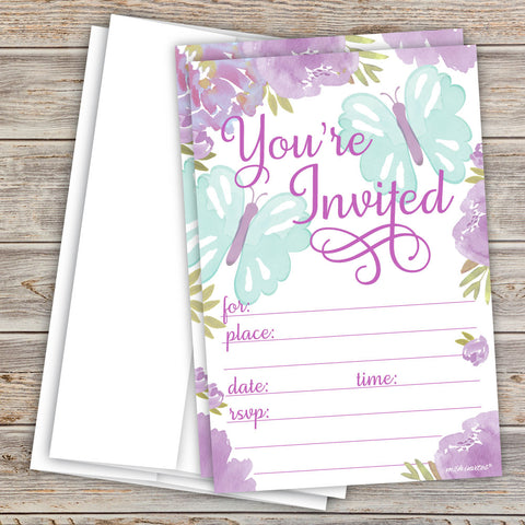 Butterfly Invitations - Purple Watercolor
