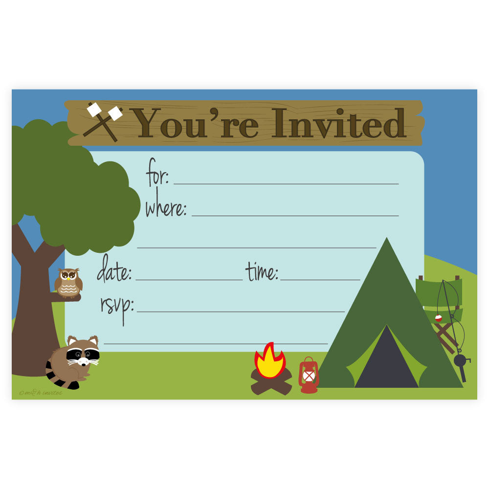 Camping Birthday Party Fill In Invitations M H Invites
