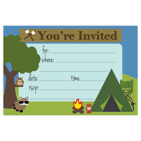 Rainbow Birthday or Baby Shower Invitations – Camping Birthday Invitations