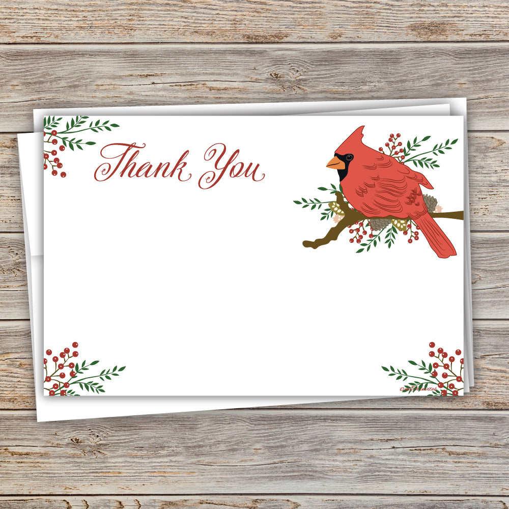 Cardinal Christmas Holiday Thank You Note Cards