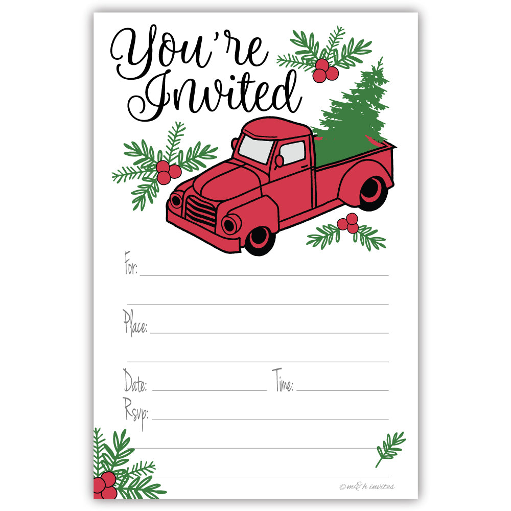 Christmas Party - Vintage Red Truck Invitations