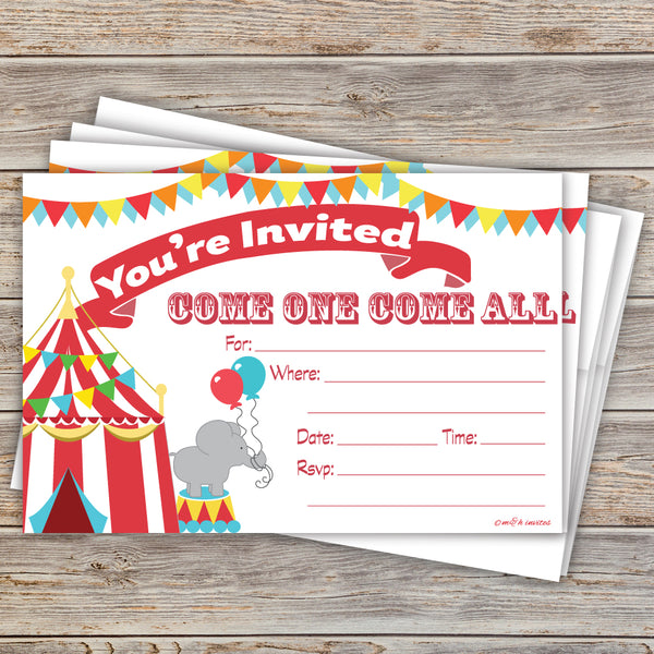Carnival Party Invitations - Birthday or Baby Shower Circus Themed