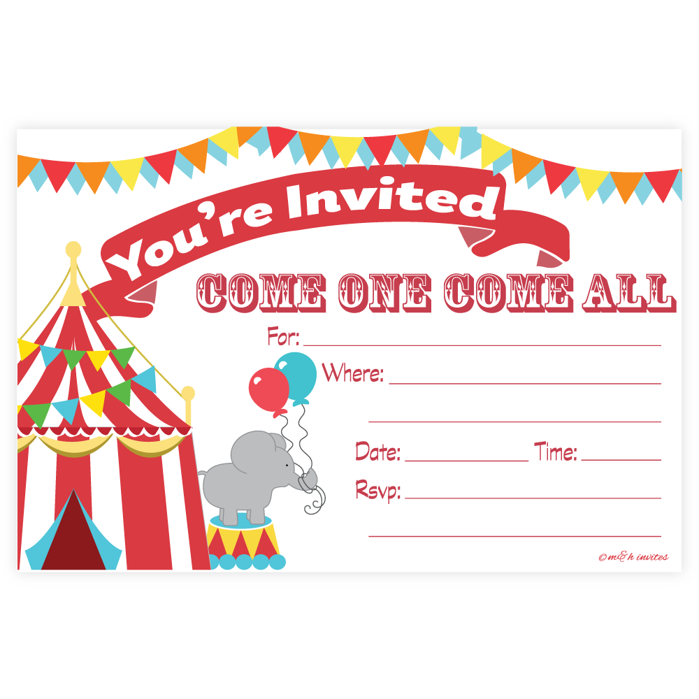 Carnival Party Fill In Invitations - Circus Birthday or Baby Shower
