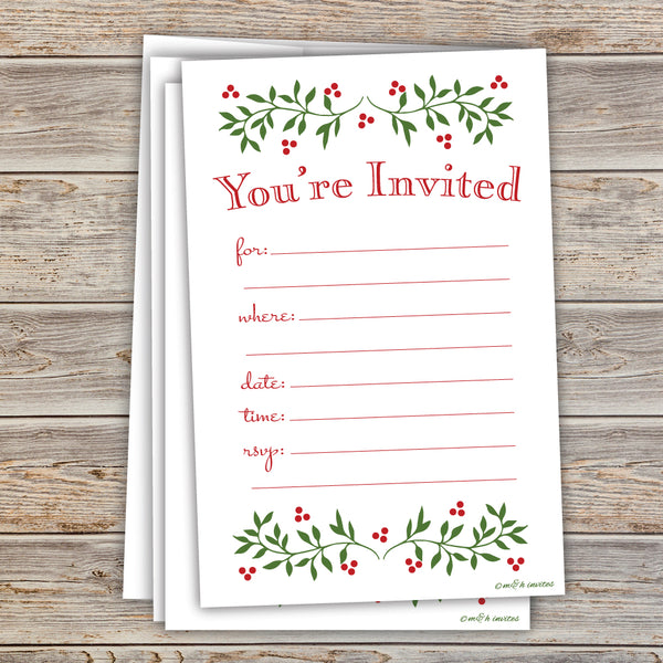 Classic Holly Christmas Holiday Invitations