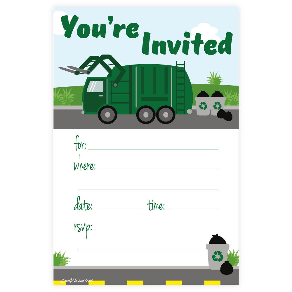 Garbage Truck Birthday Party Invitations