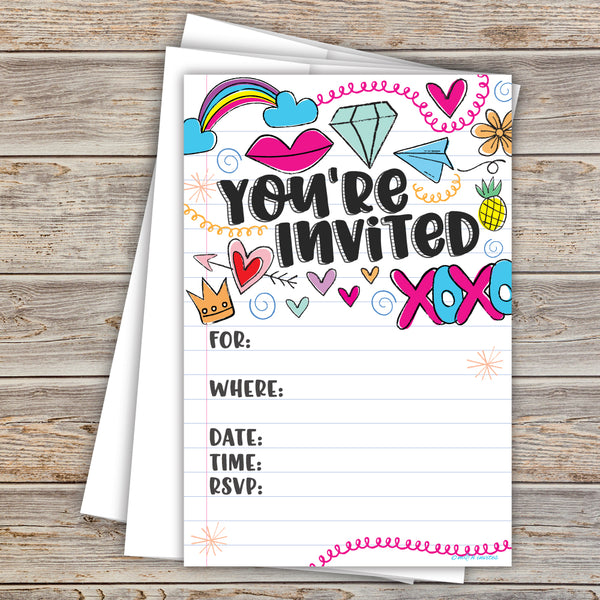 Girl Notebook Doodles Party Invitations