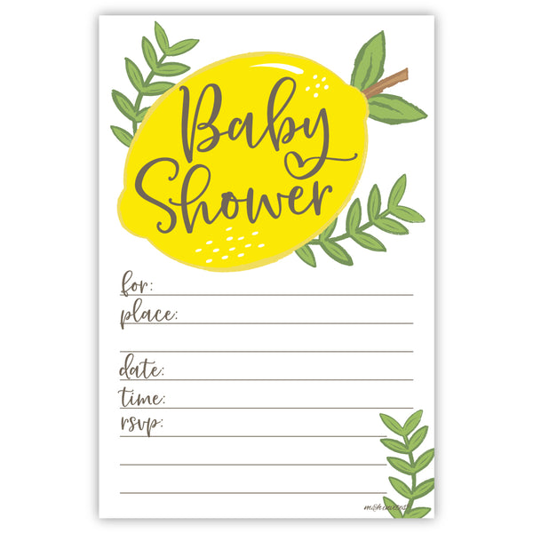 Lemon Baby Shower Invitations