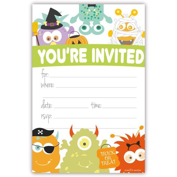 Monster Costume Kids Halloween Party Invitations - Fill In Style (20 Count) With Envelopes