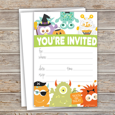Monster Costume Halloween Party Invitations - Fill In Style (20 Count) With Envelopes