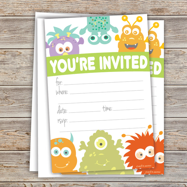 Monster Theme Birthday Invitations