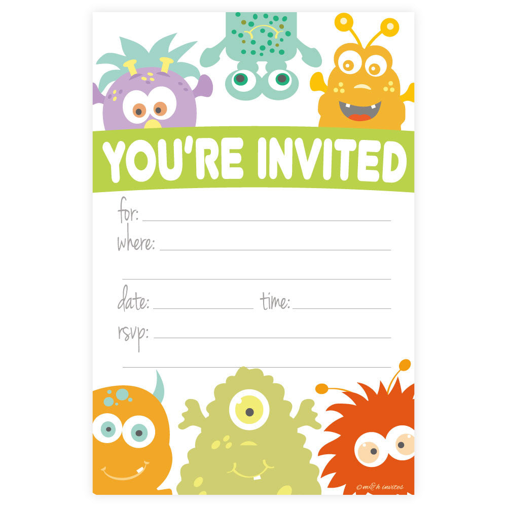 Monster Theme Birthday Invitations-Fill In Invitations-Madison and Hill