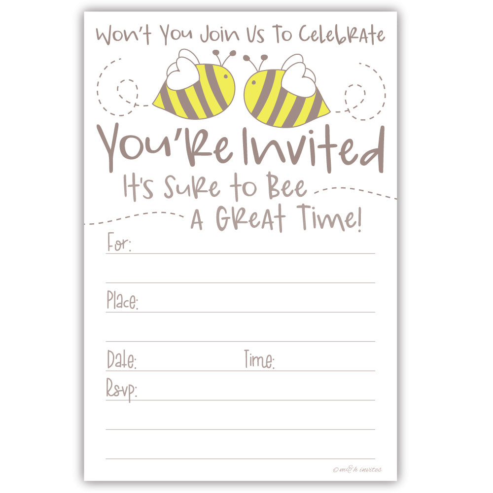 Cute Bumble Bee Party Invitations