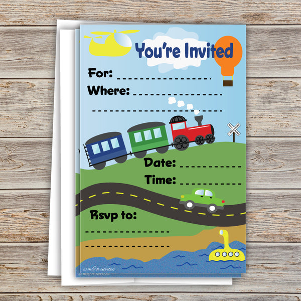 Transportation Boy Birthday Invitations