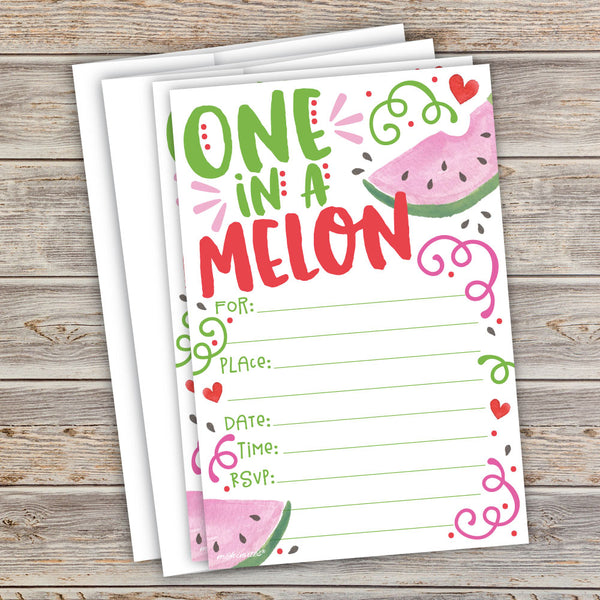 One in a Melon Invitations - Watermelon