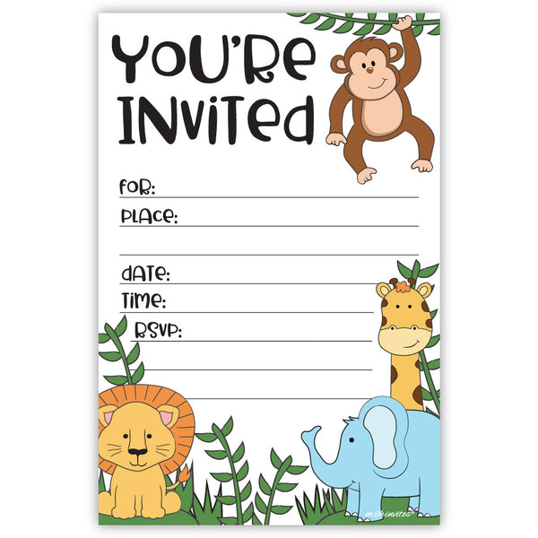 Jungle Safari Animals Invitations