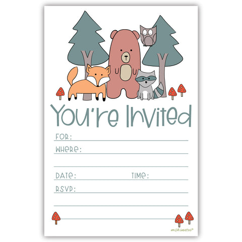 Woodland Forest Animals Invitations