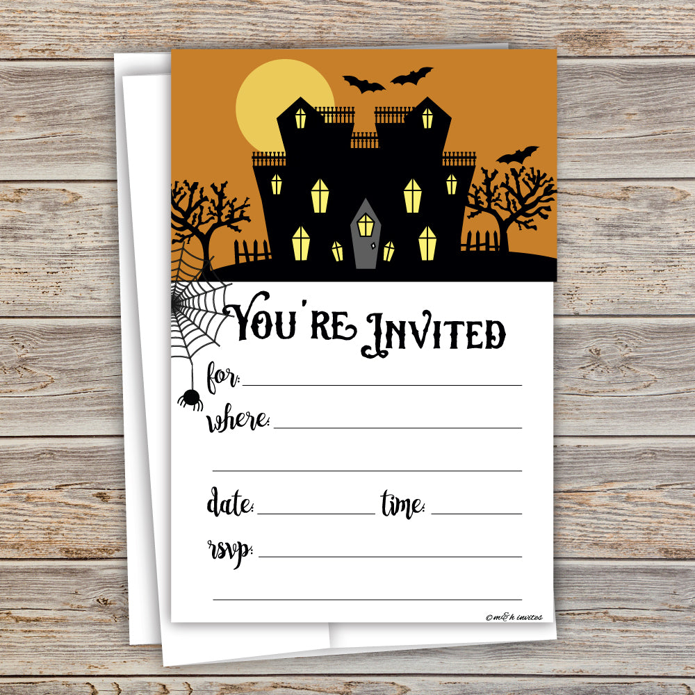 Spooky House Halloween Party Invitations - Fill In Style (20 Count) With Envelopes