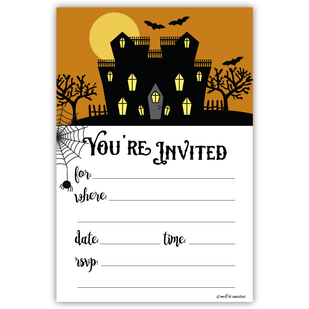 Spooky House Halloween Party Invitations