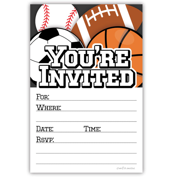Sports Party Invitations