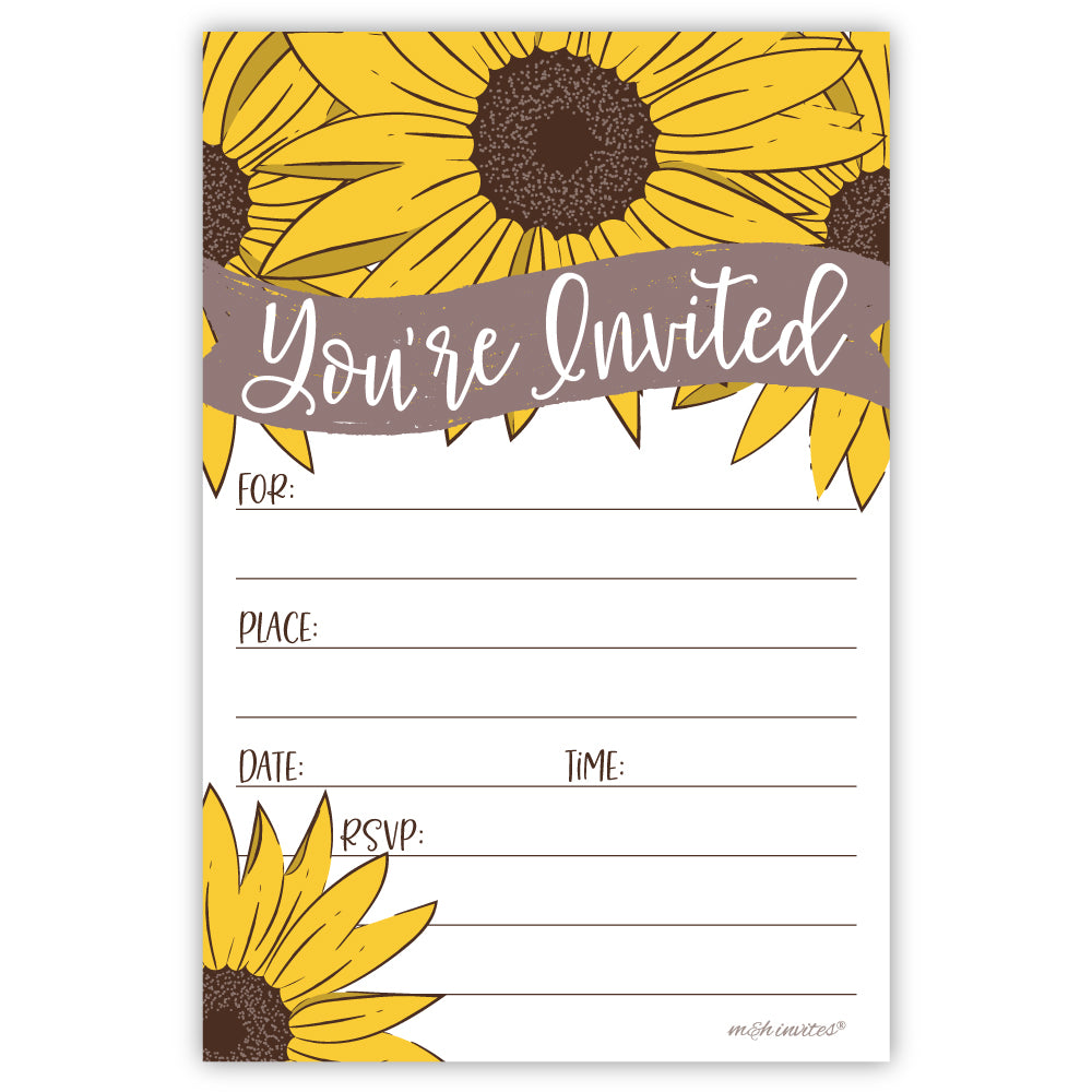 Sunflower Party Invitations - Any Occasion