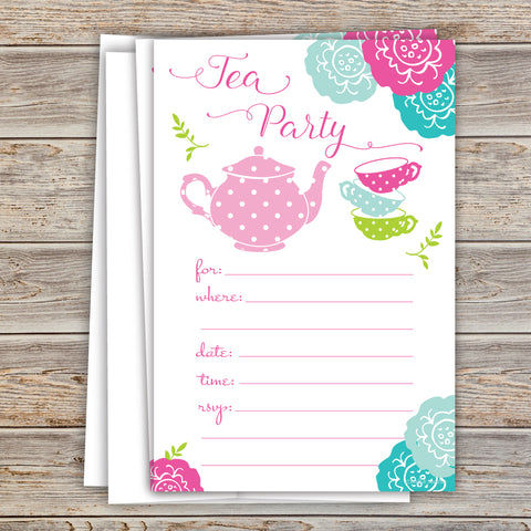 Colorful Tea Party Invitations