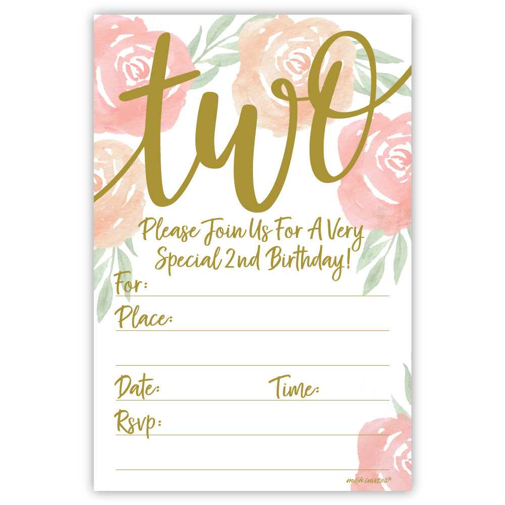 Modern Watercolor Floral 2nd Birthday Party Invitations