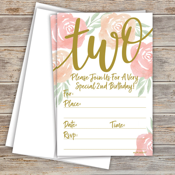 Script and Watercolor - 2nd Birthday Party Invitations