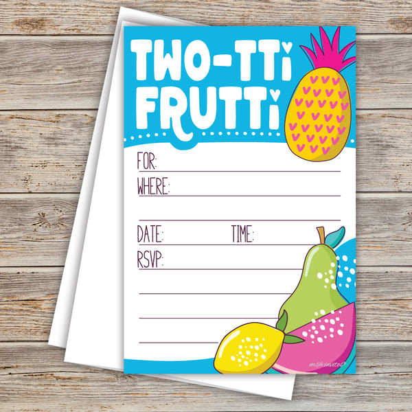 Two-Tii Fruitti 2nd Birthday Party Invitations