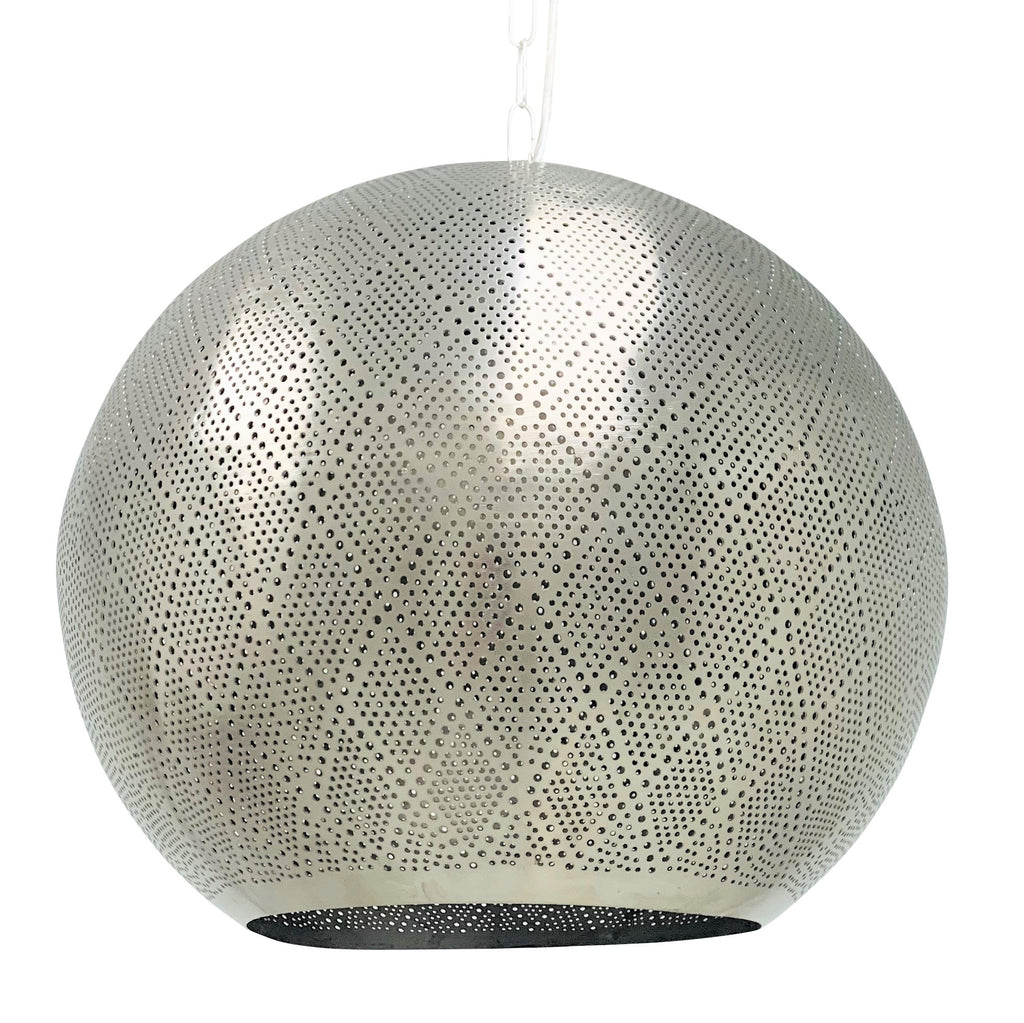Shireen Moroccan Globe - Large - Silver, Moroccan lighting, Little Light Bazaar