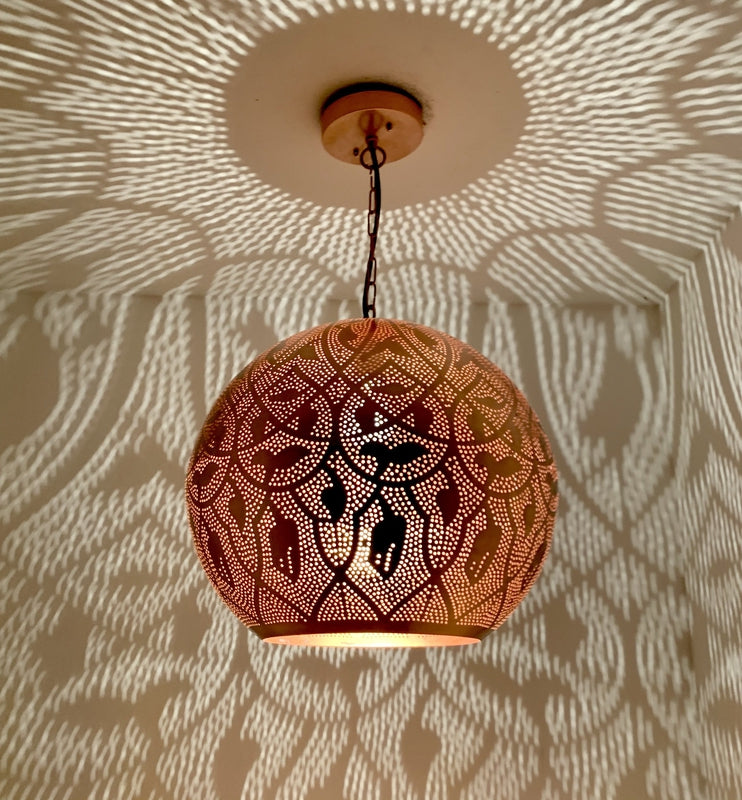 "Shireen Globe - Copper - Traditional Moroccan Pattern - 16"", Moroccan lighting, Little Light Bazaar"