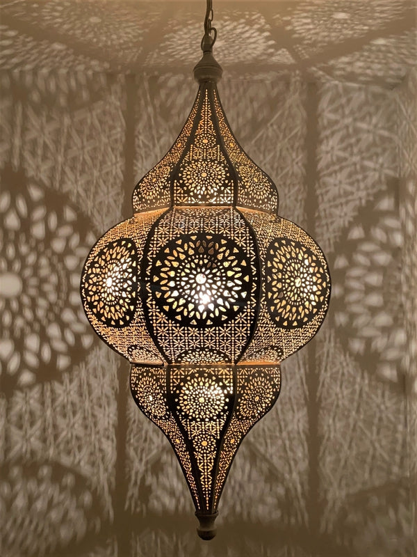 Aisha Moroccan Hanging Lantern - White - Plug in or Hardwire, Moroccan lighting, Little Light Bazaar