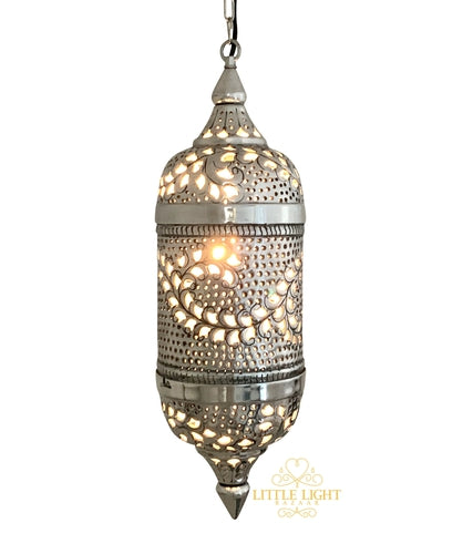 Tangier Traditional Moroccan Pendant - Silver, Moroccan lighting, Little Light Bazaar