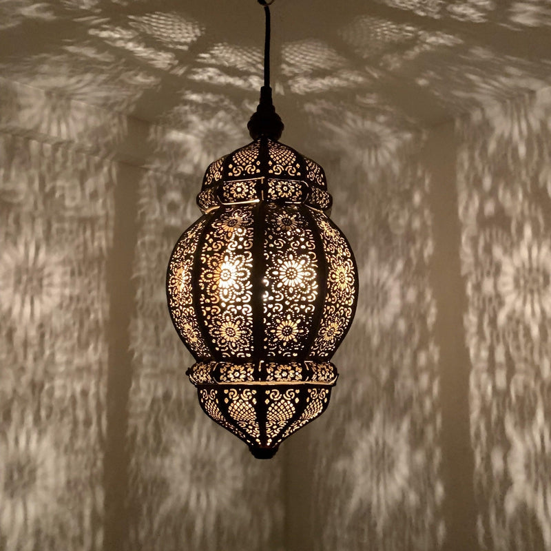 Rani Moroccan Lantern - Black with Gold Inside, Moroccan lighting, Little Light Bazaar