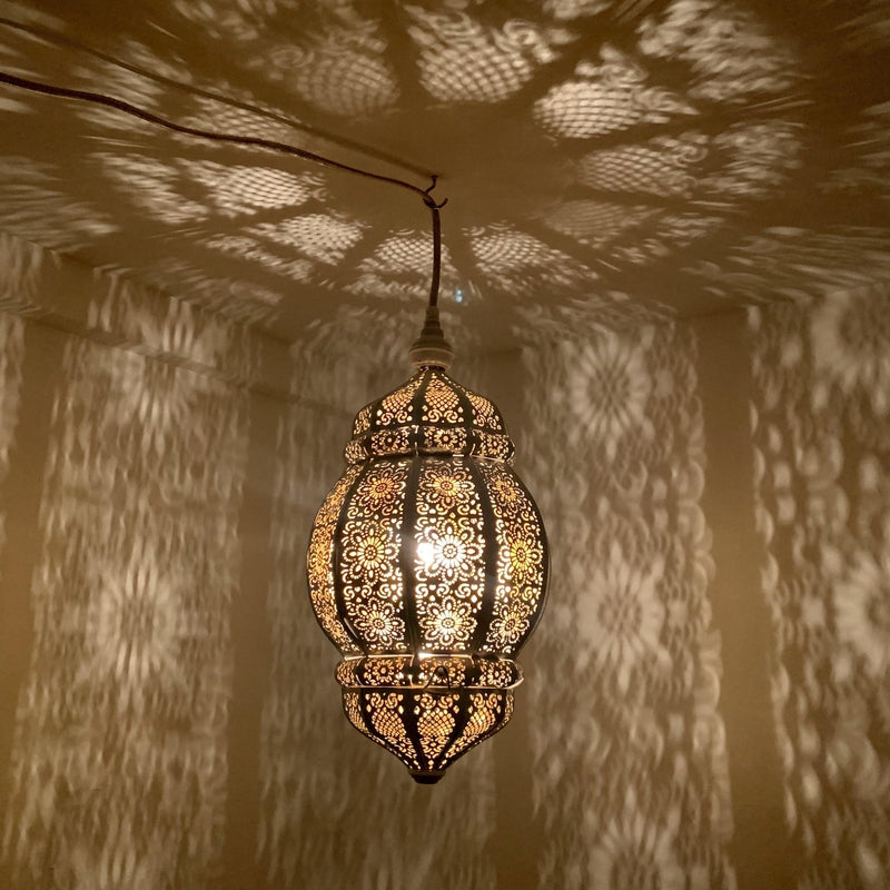 Rani Moroccan Lantern - White with Gold Inside, Moroccan lighting, Little Light Bazaar
