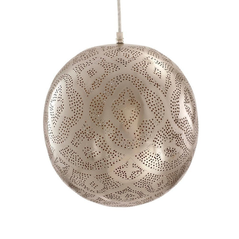 Shireen Etched Moroccan Pendant - Silver, Moroccan lighting, Little Light Bazaar
