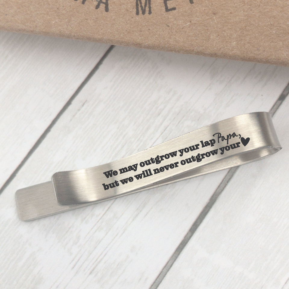 We May Outgrow Your Lap Grandpa Tie Clip