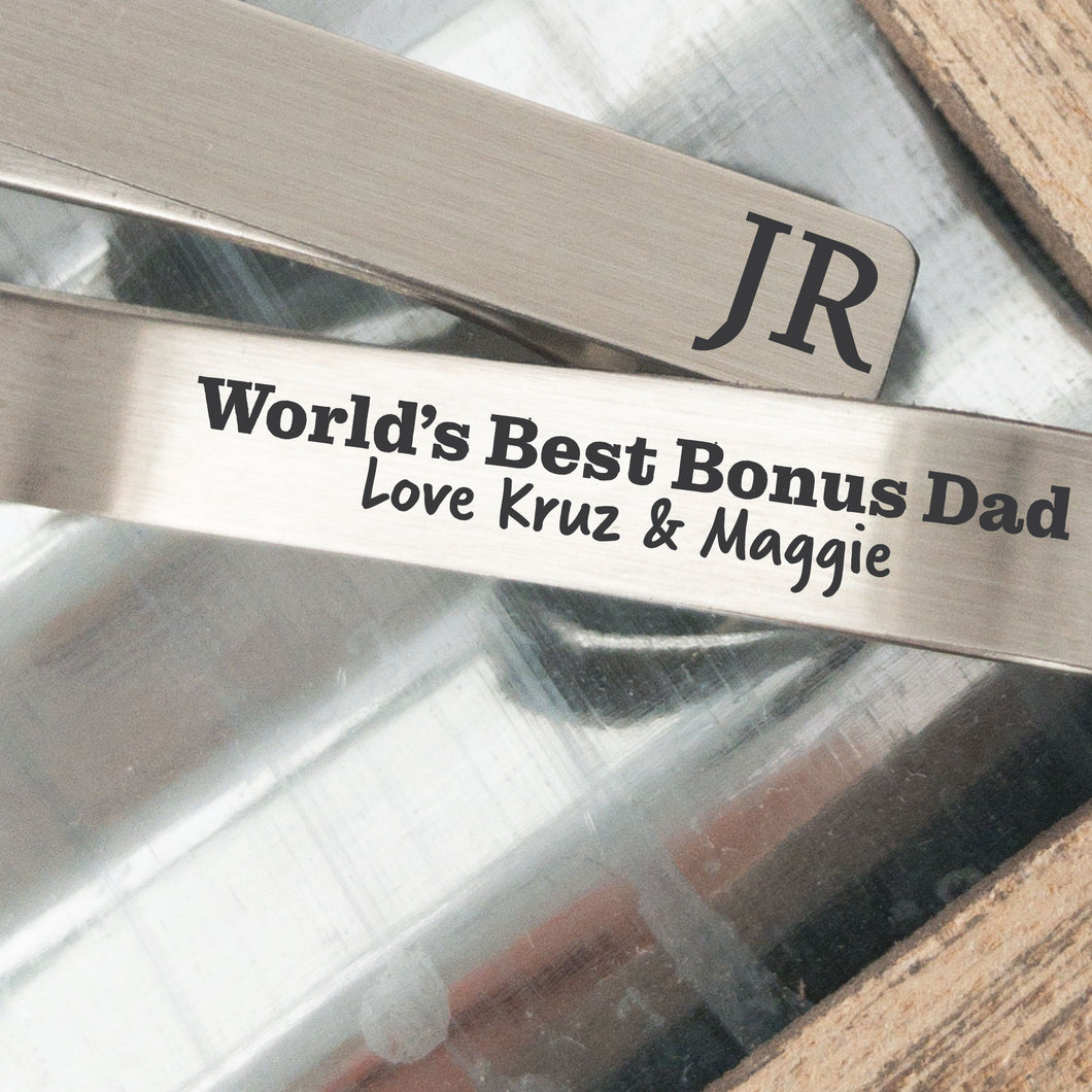 World's Best Bonus Dad Tie Clip