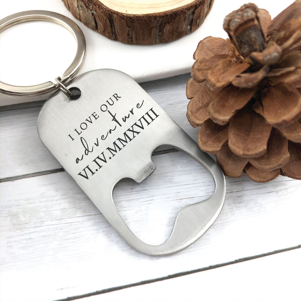 I Love Our Adventure Bottle Opener Keychain
