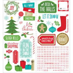 "Be Merry Cardstock Stickers 5.5""X12"" 2 / Sheets"