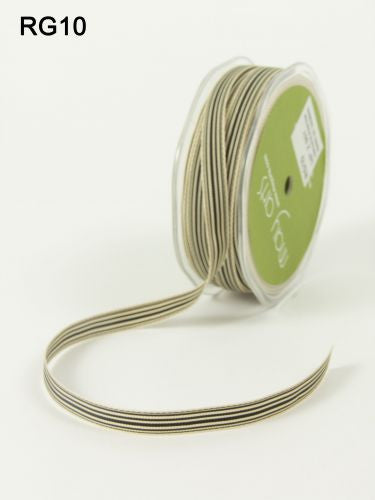 "May Arts - 3/8"" Black/Ivory Striped Ribbon"