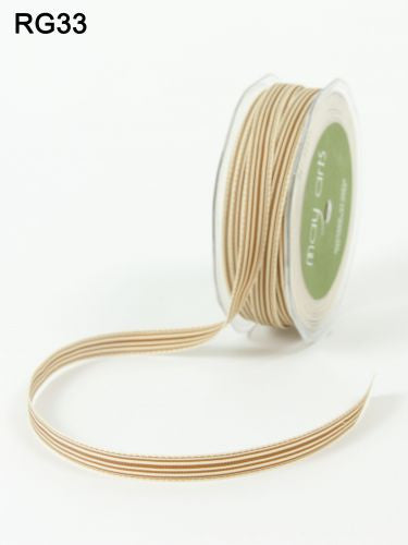"May Arts - 3/8"" Brown & Ivory Stripe Ribbo"