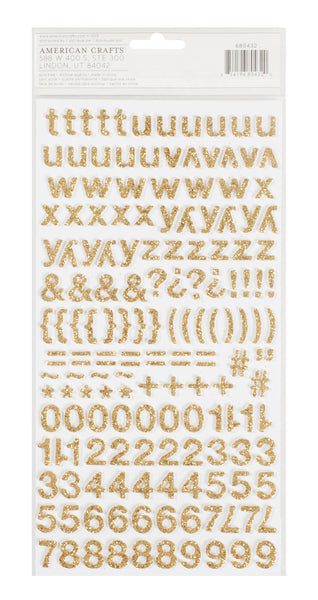 Crate Paper  - Bloom - Happy, Gold Glitter Thickers