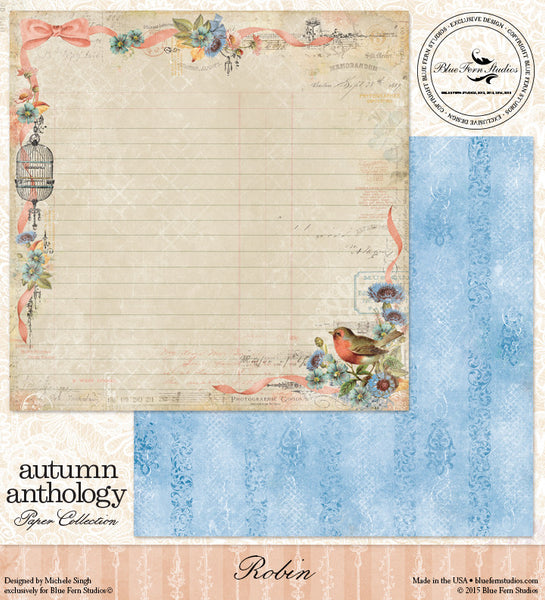 Blue Fern Studios Paper Collection - Autumn Anthology -  Robin