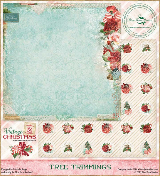 Blue Fern Studios Paper - Vintage Christmas 2 - Tree Trimming